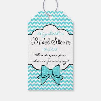 Aqua Chevron Bridal Shower Guest Favor Thank You Gift Tags