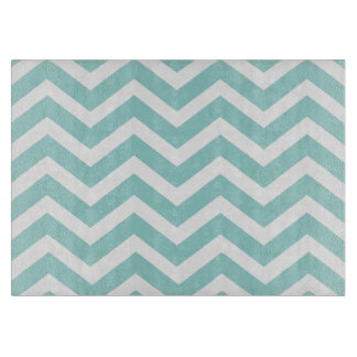 Aqua Chevron Glass Cutting Board