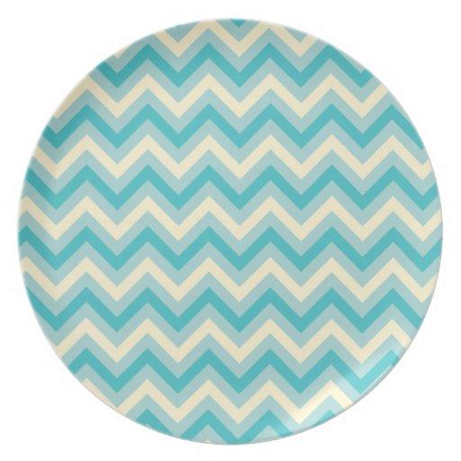 Aqua Chevron Party Plates