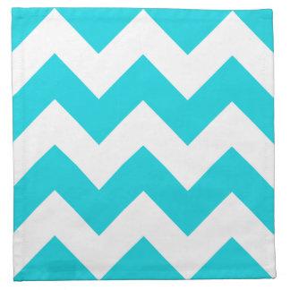 Aqua Chevron Zigzag Pattern Cloth Napkins