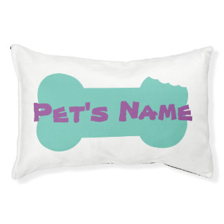Aqua Chewed Bone Personalized Dog Bed 1 Small Dog Bed