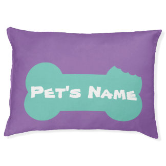 Aqua Chewed Bone Personalized Large Dog Bed 1