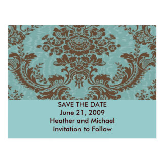 Aqua Chocolate Damask Save the Date Postcard