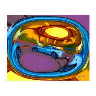 Aqua Circle Sports Car Postcard