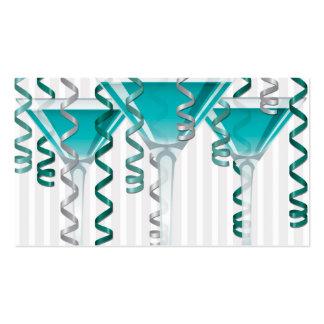 Aqua cocktail and ribbon business card