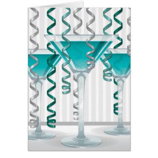 Aqua cocktail and ribbon card