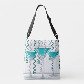 Aqua cocktail and ribbon crossbody bag