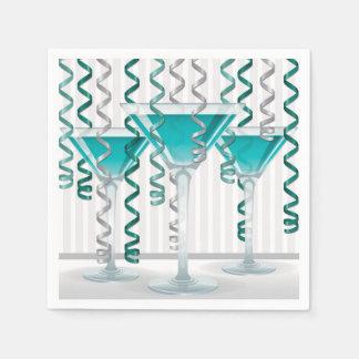 Aqua cocktail and ribbon disposable napkin