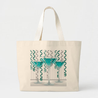 Aqua cocktail and ribbon large tote bag