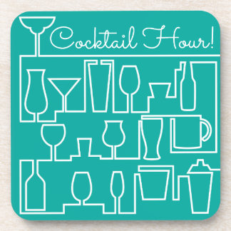 Aqua cocktail party coaster