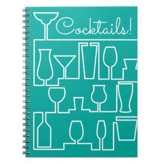 Aqua cocktail party notebooks