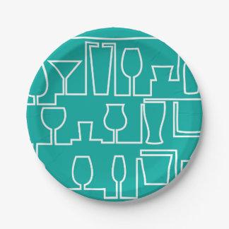 Aqua cocktail party paper plate