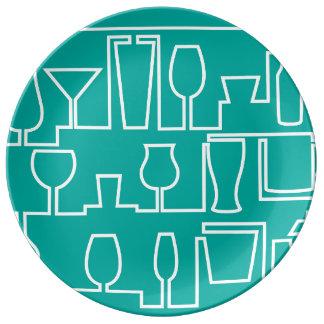 Aqua cocktail party plate