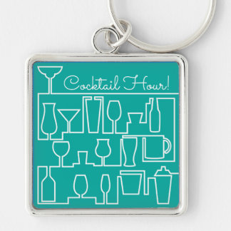Aqua cocktail party Silver-Colored square keychain