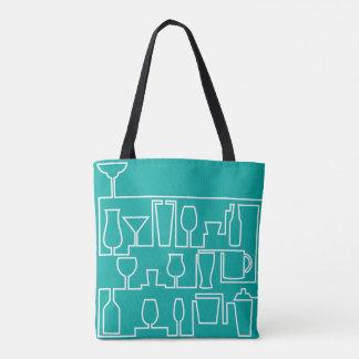 Aqua cocktail party tote bag