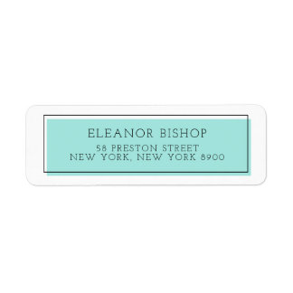 Aqua Color Block Minimalist Return Address Label