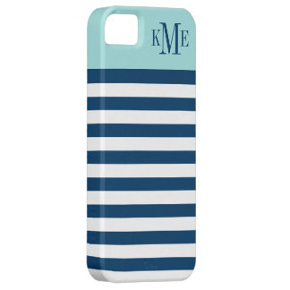 Aqua Color Block Monogram | Navy Stripes iPhone 5 Cases