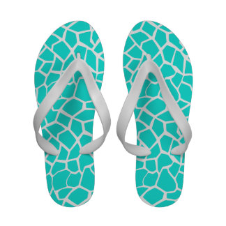 Aqua Color Giraffe Animal Print Flip-Flops