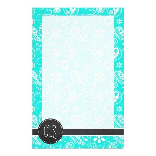 Aqua Color Paisley; Floral; Retro Chalkboard Stationery Design