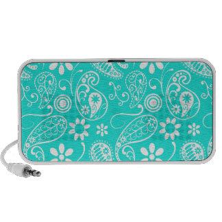 Aqua Color Paisley; Floral Travel Speaker