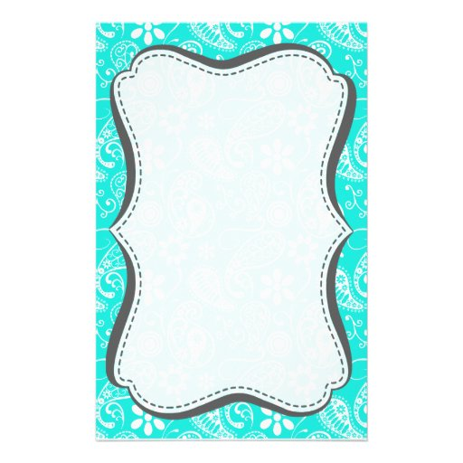 Aqua Color Paisley; Floral Stationery