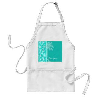 Aqua Color Paisley; Floral; Summer Palm Standard Apron