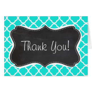 Aqua Color Quatrefoil; Vintage Chalkboard look Card