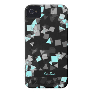 Aqua Confetti Custom Name iPhone 4 Case