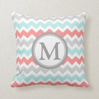 Aqua Coral Grey Chevron Monogram Decorative Pillow