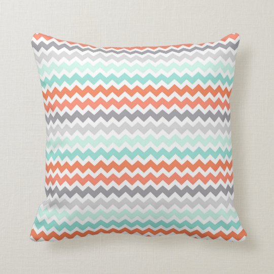 Aqua Coral Grey Teal Chevron Decorative Pillow