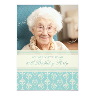 Aqua Cream Photo 85th Birthday Party Invitations