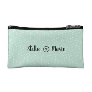 Aqua cream simple dot pattern with heart cosmetic bag