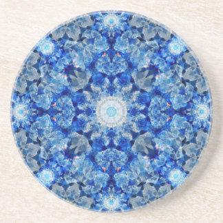 Aqua Crystal Mandala Drink Coasters