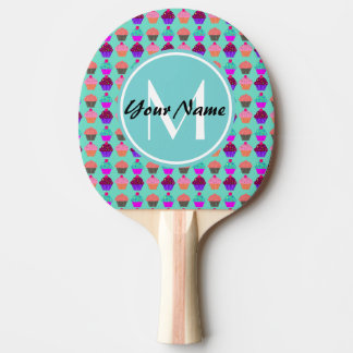 Aqua Cupcake Personalized Monogram Ping Pong Paddle