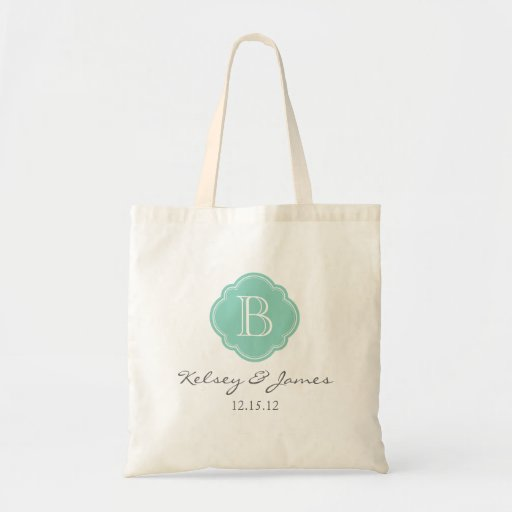 Aqua Custom Monogram Wedding Favor Tote Canvas Bags