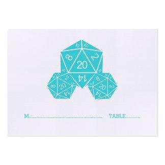 Aqua D20 Dice Wedding Place Card Chubby Business Cards