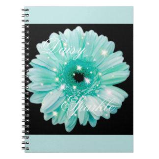 Aqua Daisy Sparkle Notebook