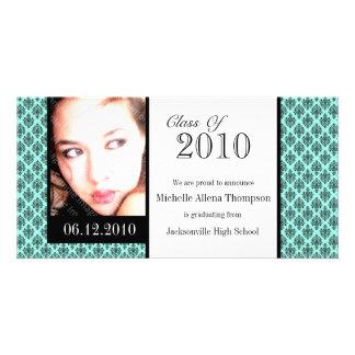 Aqua Damask Graduation Announcement Photo Cards