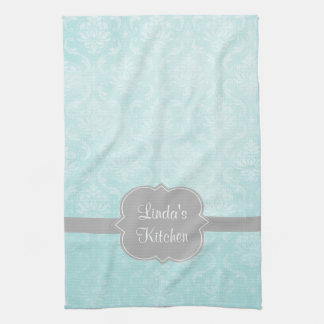 Aqua Damask Gray Personalized Kitchen Towel