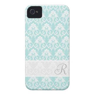 Aqua Damask MonogramPattern iPhone 4/4S case
