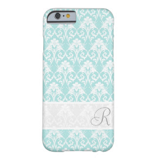 Aqua Damask MonogramPattern iPhone 6 case Barely There iPhone 6 Case