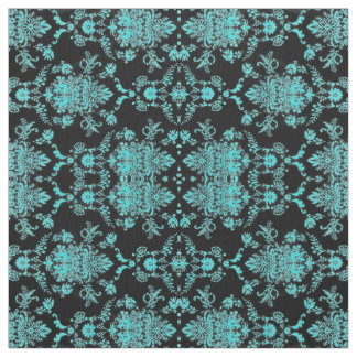Aqua Damask on Black Chic Design Fabric