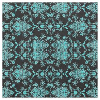 Aqua Damask on Black Chic Design Fabric