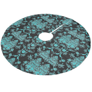 Aqua Damask on Black Chic Design Fleece Tree Skirt