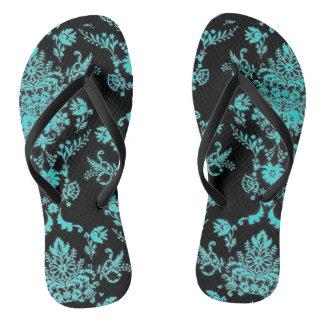 Aqua Damask on Black Chic Design Flip Flops