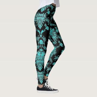 Aqua Damask on Black Chic Design Leggings