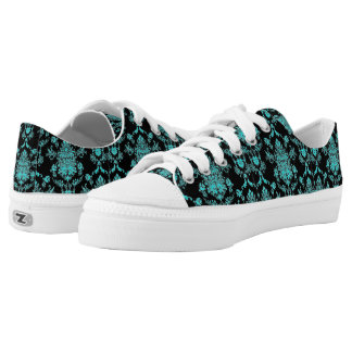 Aqua Damask on Black Chic Design Low-Top Sneakers