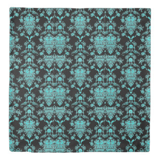 Aqua Damask on Black Duvet Cover