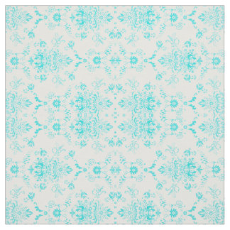 Aqua Damask on White Chic Design Fabric