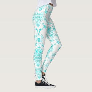 Aqua Damask on White Chic Design Leggings